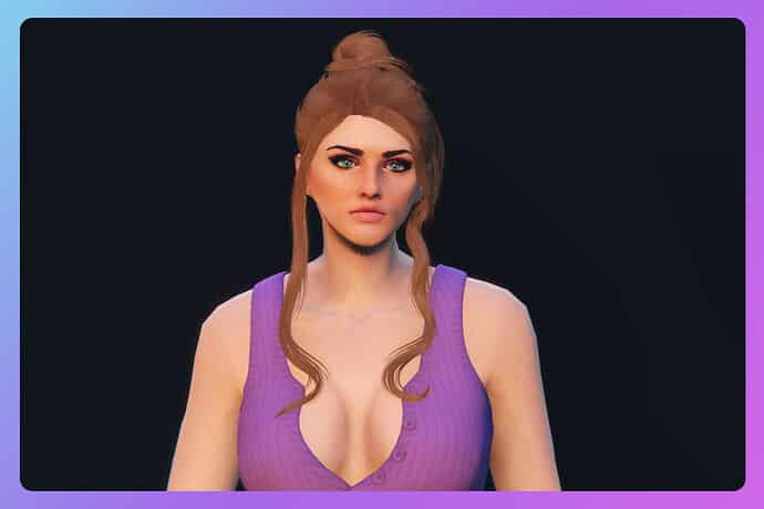 Release Bun with two loose strands hairstyle for MP Female